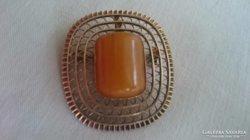 Izraeli kézműves Tűzaranyozott ezüst medál és bross
