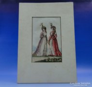 0C700 Antik színezett főúri divat litográfia