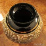 Aranyozott fekete VEB Kunstglas Zella-Mehlis porcelán váza