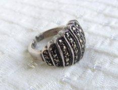 Markazitos ezüst gyűrű - nyitott