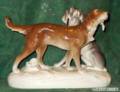 Nagyon ritka,nagyméretű, Royal Dux kutyapár !