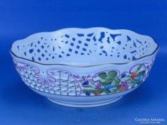 0D176 Herendi áttört Rothschild porcelán kosár