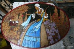 Festett, faragott fa táblakép az 1930-as évekből