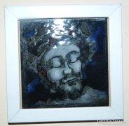 Fehér Margit : Jézus fej - tűzzománc kép