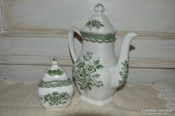 Angol porcelán teás kanna és cukortartó