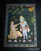 Indiai kézzel festett selyem kép