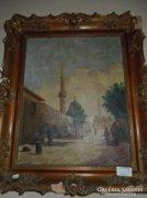 Mecsetet ábrázoló olaj vászon festmény