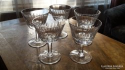 Ólomkristály, kristály pohár 5 db-os készlet a 40-es évekből