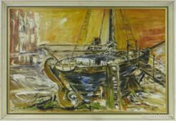 Ismeretlen festő - Hajó a kikötőben