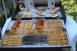 Ritka! álomszép mintázatú igényes ötvös munka! Luxus rózsaarany evőeszköz 24 kar.arany 800as ezüst