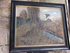 Vadászat-természet- Wessehr K.1912 Róka lesen festmény o.,v,,jjl. 74x88 cm+keret