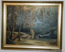 Fürdőzők - kvalitásos jelzett olaj/vászon festmény