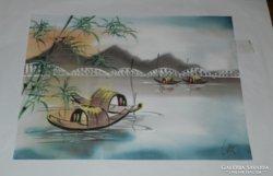 Indiai jelzett selyemkép festmény
