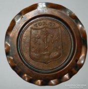 Tokaj - vörösréz fali tányér