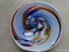 Muránói üveg kínálótál, kézműves darab