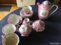 Gyönyörü eozinos porcelán teáskészlet, hibátlan, 6 személyes