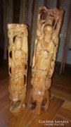 Távol - Keleti Bölcs szantálfából faragott szoborpár