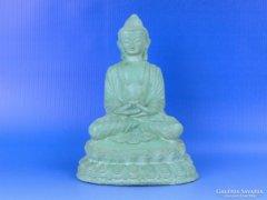 0D402 Keleti ülő Buddha zöld színű kő szobor