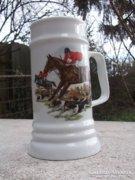 Új-majd 1 l-es !szép kivitelű  Vadászat-ló motívum  sörös krigli-korsó porcelán -ajándékba is