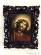 Jézus Krisztus antik olajfestmény - florentin keretben