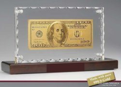 100 DOLLÁR 24 kt ARANY UNC BANKJEGY, BANKJEGYVERET, KRISTÁLY LUXUS ASZTAL VITRIN DÍSZ,RITKA AJÁNDÉK
