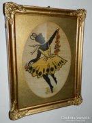 Antik gobelin blondel keretben : balerína
