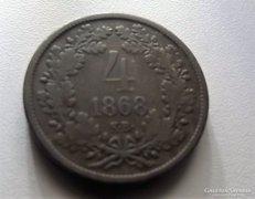 Ferenc József 4 krajcár 1868 KB