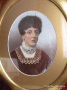 Bieder női portré ovális keretben