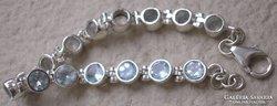 925 ezüst karkötő kék topáz kövekkel 18,8-20 cm