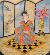 0E925 Régi selyemkép gésa kimonóban