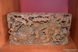 Indonéz fa faragott falikép