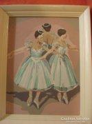 Olaj karton festmény keretben: Balerinák