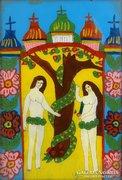 0E974 Antik erdélyi üveg ikon Ádám és Éva