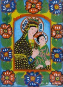 0E983 Antik erdélyi üveg ikon : Mária és kis Jézus