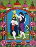 0E987 Antik üveg ikon : Keresztelő Szent János
