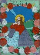0E990 Antik erdélyi üveg ikon Jézus az atya előtt