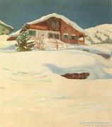Német, vagy osztrák művész : Hegyi falu télen