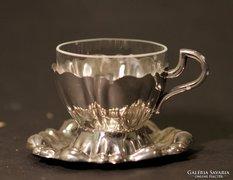 Ezüst kávéscsésze, üveg betéttel 4 db