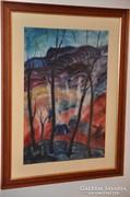 Korondi szénégetők - Páll Lajos akvarell