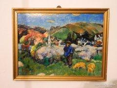Nagybányai falurészlet : kvalitásos jelzett olaj festmény