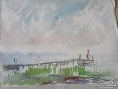 MOSSHAMMER GYÖRGY jelzett festmény BALATON HORGÁSZAT