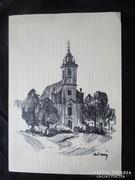 MOSSHAMMER GYÖRGY JELZETT festmény ISTEN HÁZA 1949