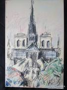 MOSSHAMMER GYÖRGY Jelzett festmény PÁRIZS NOTRE DAME1968