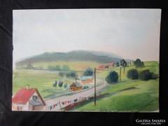 MOSSHAMMER GYÖRGY festmény MECSEKI TÁJ V. 1945