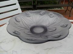Impozáns - súlyos üveg kínáló asztalközép tulipános mintával
