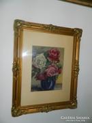 Virágcsendélet - antik akvarell festmény blondel keretben