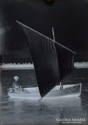 0F623 Antik lemez hajózás fotográfia üvegnegatív