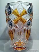 Mézborostyán mintás kristály váza 20,5 cm