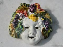 Bacchus fej - antik falikép - fali porcelán dísz