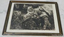 Antik metszet :Hans Makart Der Lieblingspage
